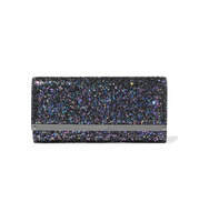 Jimmy Choo Milla Glittered Leather Clutch Navy Intl Shipping