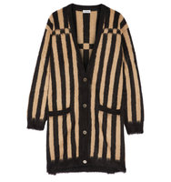 Loewe Oversized Striped Jacquard Knit Mohair Blend Cardigan Camel Intl Shipping