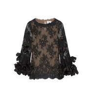 Marchesa Silk Organza Trimmed Lace Blouse Black Intl Shipping