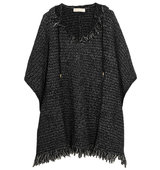 Michael Michael Kors Fringed Knitted Hooded Poncho Black Intl Shipping
