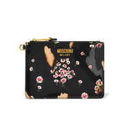 Moschino Printed Patent Leather Pouch Black Intl Shipping