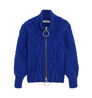 Off White Cable Knit Wool Blend Cardigan Royal Blue Intl Shipping