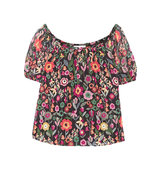 Redvalentino Off The Shoulder Printed Crinkled Silk Chiffon Top Black Intl Shipping