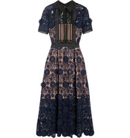 Self Portrait Camilla Chiffon Trimmed Guipure Lace Dress Navy Intl Shipping