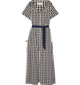 Solid And Striped Poppy Delevingne Gingham Cotton And Linen Blend Poplin Dress Navy Intl Shipping