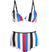 Solid And Striped The Belle And Bridget Striped Triangle Bikini Red Intl Shipping