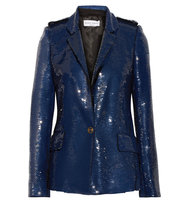 Sonia Rykiel Sequined Crepe Jacket Storm Blue Intl Shipping