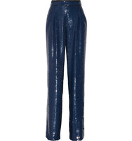 Sonia Rykiel Sequined Crepe Wide Leg Pants Storm Blue Intl Shipping