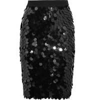 Sonia Rykiel Sequined Wool Skirt Black Intl Shipping
