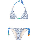 Stella Mccartney Beaded Printed Triangle Bikini Light Blue Intl Shipping