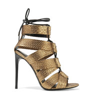 Tom Ford Lace Up Metallic Python Sandals Gold Intl Shipping