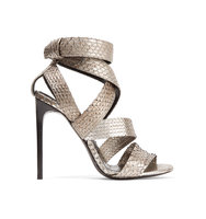 Tom Ford Metallic Python Sandals Silver Intl Shipping