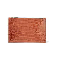 Victoria Beckham Croc Effect Leather Pouch Orange Intl Shipping