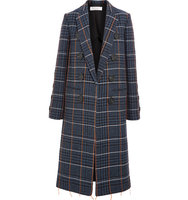 Victoria Beckham Embroidered Houndstooth Wool Coat Navy Intl Shipping