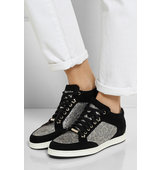 Jimmy Choo Miami Glittered Leopard Print Mesh And Suede Sneakers