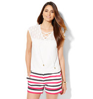 New York And Company 7th Avenue Design Studio Lace Up Lace Panel Top Paper White In Paper White