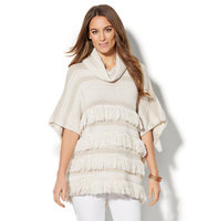 New York And Company Fringed Cowl Neck Poncho In Honey Beige
