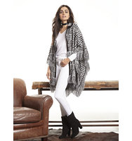 New York And Company Fringed Herringbone Poncho In Black
