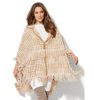 New York And Company Fringed Herringbone Poncho In Classic Camel