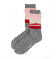 New York And Company Half Stripe Crew Sock In Medium Heather Grey