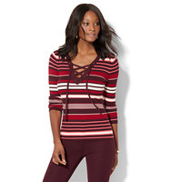 New York And Company Lace Up Ribbed Knit Sweater Stripe In True Burgundy