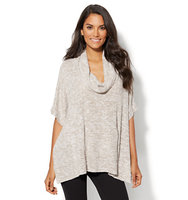 New York And Company Lounge Cowl Neck Poncho In Medium Taupe
