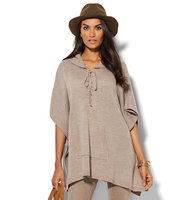 New York And Company Lounge Lace Up Hooded Poncho In Marble Hill Heather