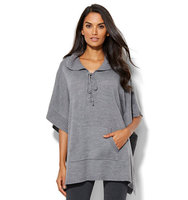New York And Company Lounge Lace Up Hooded Poncho In Medium Heather Grey
