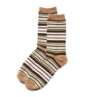 New York And Company Multi Stripe Crew Sock In Classic Camel