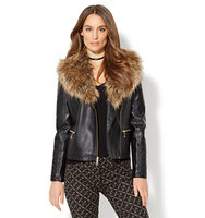 New York And Company Quilted Faux Leather Moto Jacket Removable Faux Fur In Black