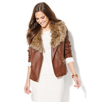 New York And Company Quilted Faux Leather Moto Jacket Removable Faux Fur In Cognac