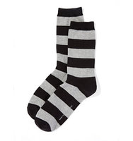 New York And Company Rugby Stripe Sock In Black