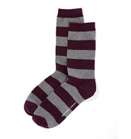 New York And Company Rugby Stripe Sock In True Burgundy