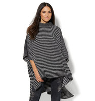 New York And Company Striped Hi Lo Poncho In Black