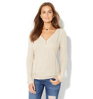 New York And Company Zip Accent Hi Lo Sweater In Honey Beige