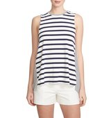 1STATE Stripe Split Back Sleeveless Top