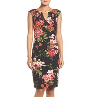 Adrianna Papell Floral Print Stretch Sheath Dress