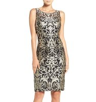 Adrianna Papell Metallic Embroidered Sheath Dress