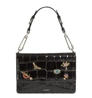 Alexander Mcqueen Jeweled Obsession Croc Embossed Leather Shoulder Bag