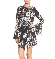 Ali Jay Bell Sleeve Floral Sheath Dress