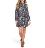 Angie Floral Print Cold Shoulder Swing Dress