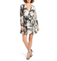 Ashley Mason Floral Print Surplice Neck Dress