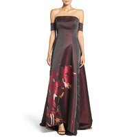 Badgley Mischka Placed Floral Print Ballgown