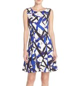 Betsey Johnson Print Scuba Fit Flare Dress