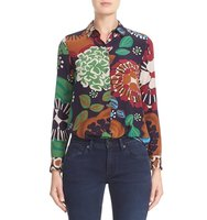 Burberry Aster Print Mulberry Silk Blouse