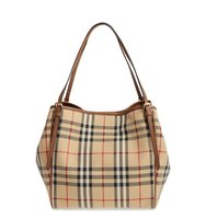 Burberry Small Canter Horseferry Check Leather Tote