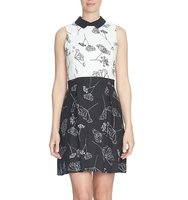 Cece Dandelion Print Colorblock A Line Dress