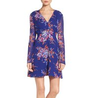 Charles Henry Floral Print Fit Flare Dress