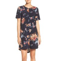 Charles Henry Floral Print Stretch Shift Dress