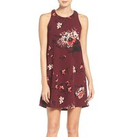 Charles Henry Floral Print Stretch Trapeze Dress